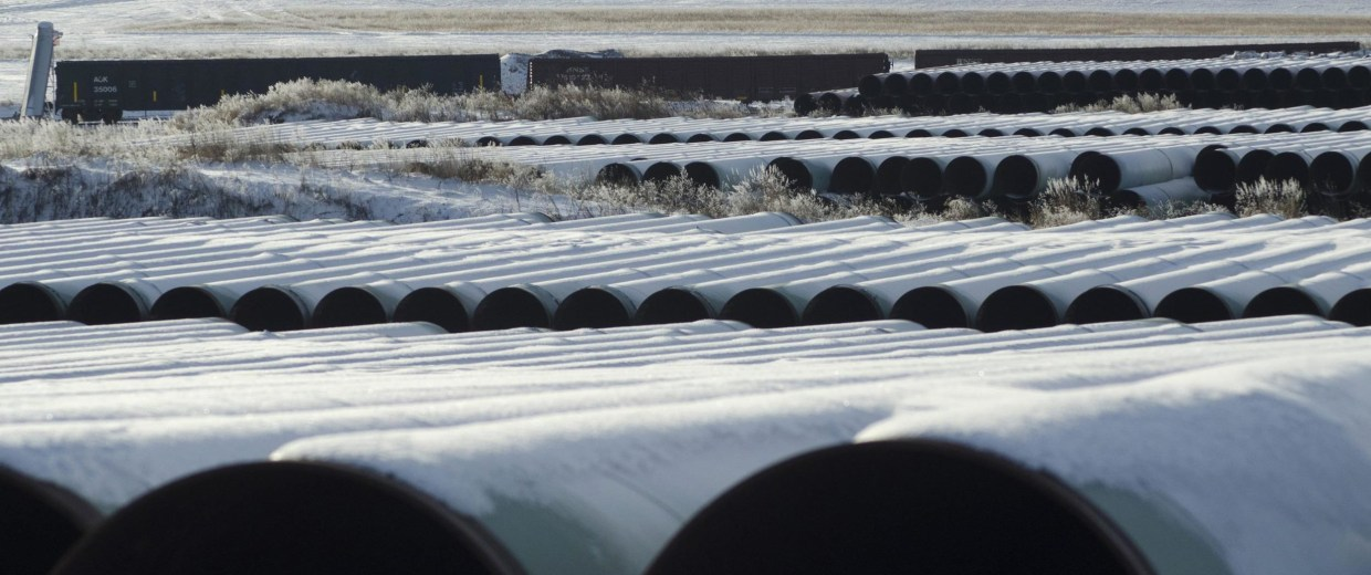 Image: A depot used to store pipes for Transcanada Corp's planned Keystone XL oil pipeline is seen in Gascoyne North Dakota