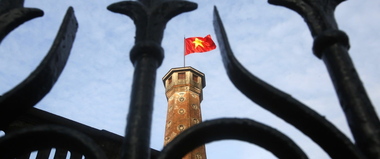 Image: A Vietnamese national flag is seen at the Flag Tower of Hanoi in Hanoi