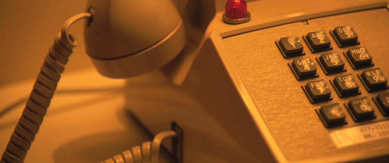 Telephone in hotel room
