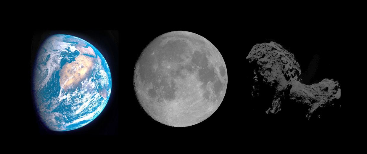 Image: Earth, moon and comet