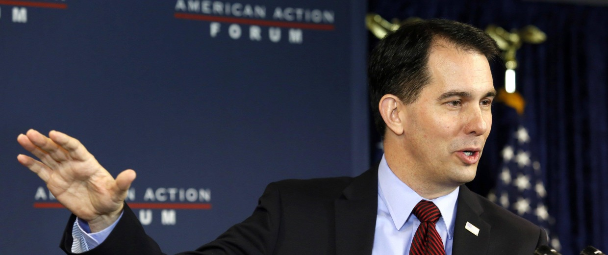 Image: Wisconsin Governor Scott Walker addresses the American Action Forum in Washington