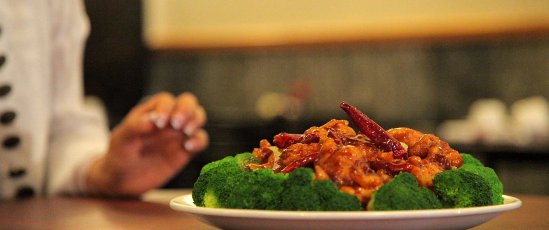 A platter of General Tso's Chicken at a menu photo shoot.