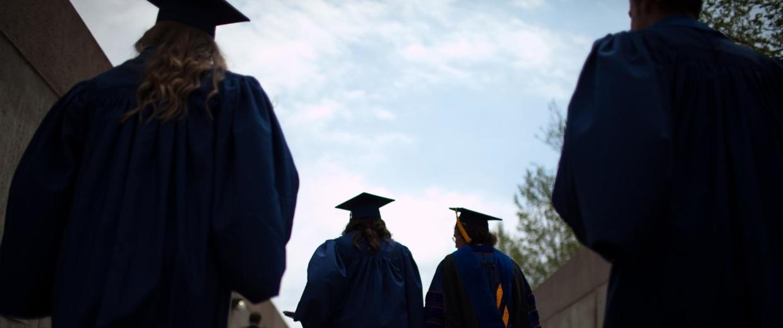 Image: New graduates leave ceremony