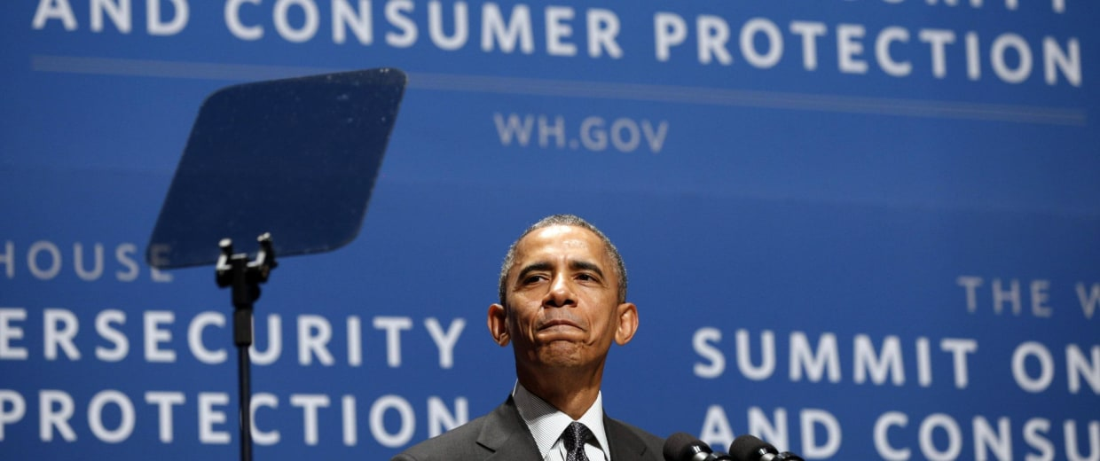 Image: Obama speaks at the Summit on Cybersecurity and Consumer Protection in Palo Alto, California