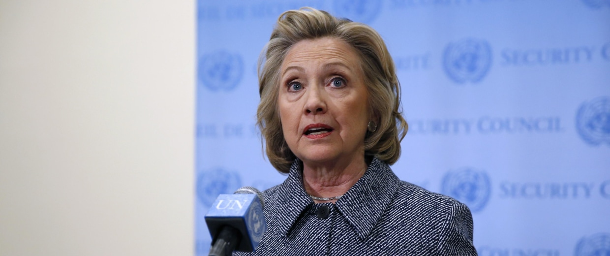 Image: Former U.S. Secretary of State Hillary Clinton speaks during a news conference at the United Nations in New York