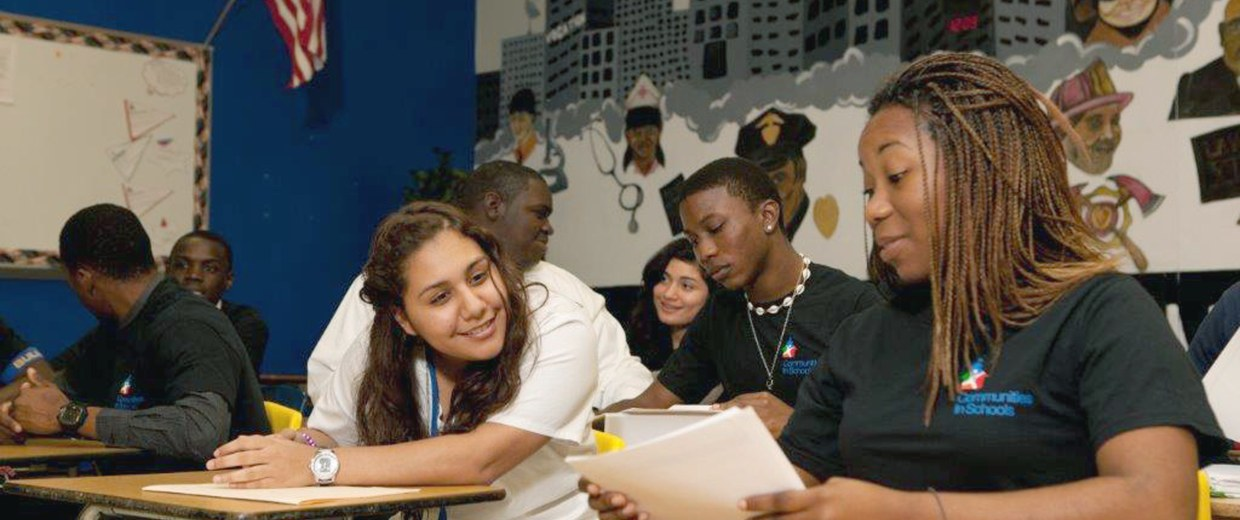 Image: Children and staff participate in the Communities in Schools program