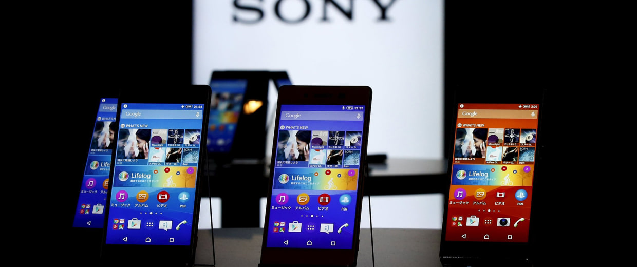 Image: Sony's new Xperia Z4 smartphones are displayed at the company headquarters in Tokyo