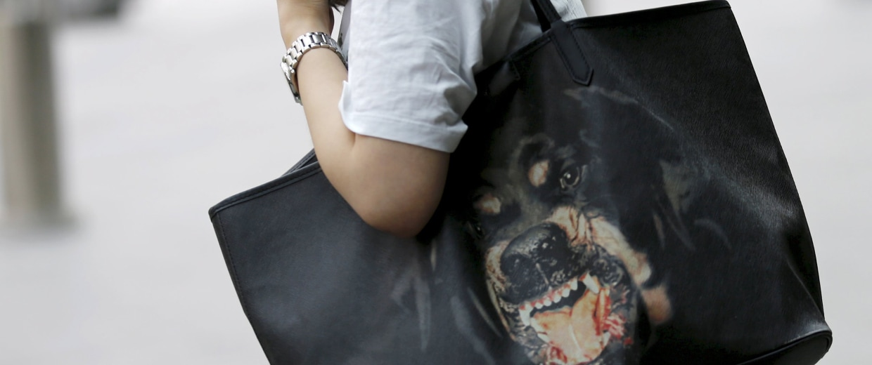 Image: File photo of a woman carrying her pet dog on her shoulder in front of a shopping mall in Beijing, China