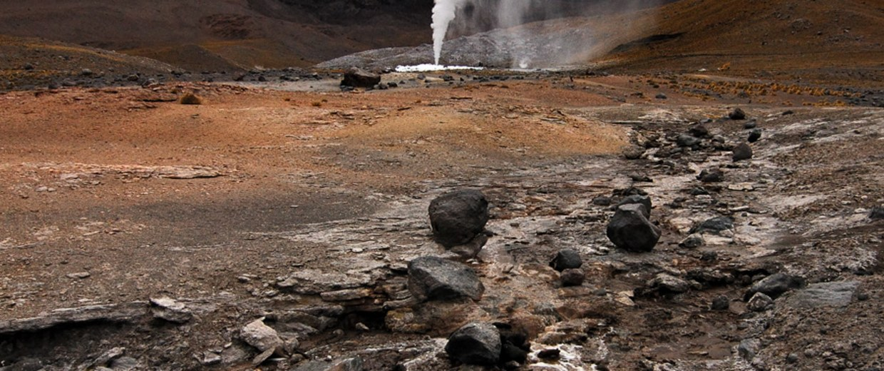 Image: A field of geysers in Chile's Andes Mountains