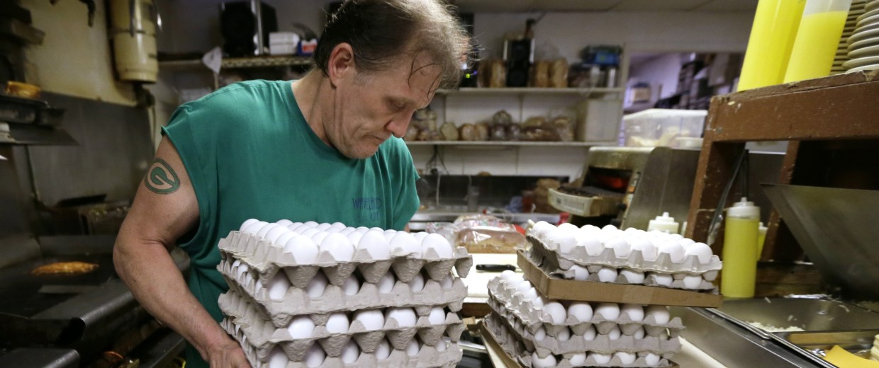 Image: Eggs are placed into cooler