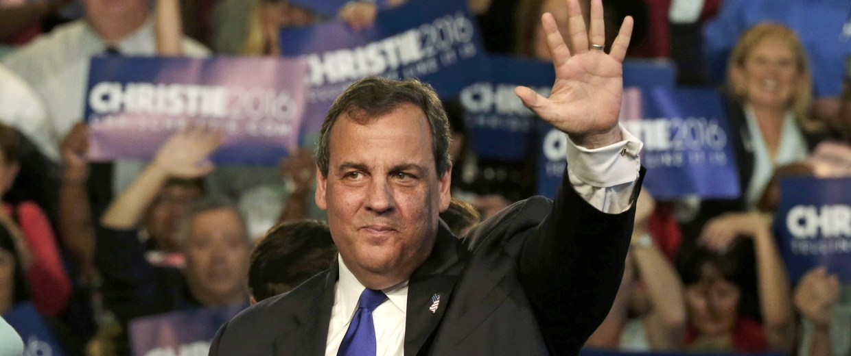 Image: Republican U.S. presidential candidate Christie acknowledges supporters during a kickoff rally in Livingston, New Jersey