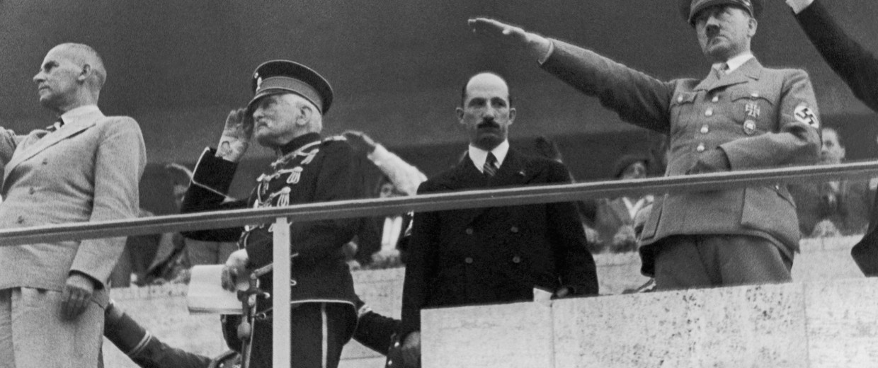 Imge: From right to left: the Fuhrer Adolf Hitler, King Boris III of Bulgaria, Marshal August Von  Mackensen and Doctor Frick