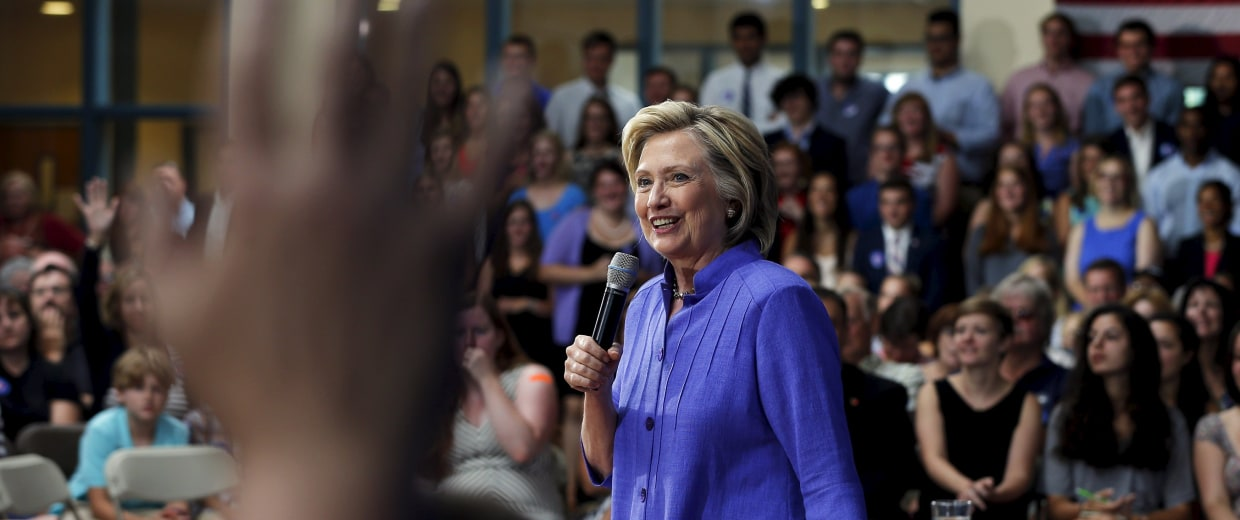 Image: U.S. Democratic presidential candidate Hillary Clinton takes a question from the audience during a campaign town hall meeting in Exeter