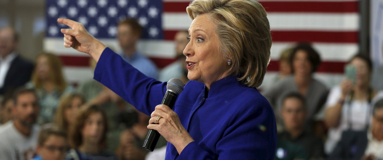 Image: U.S. Democratic presidential candidate Hillary Clinton holds a campaign town hall meeting in Claremont