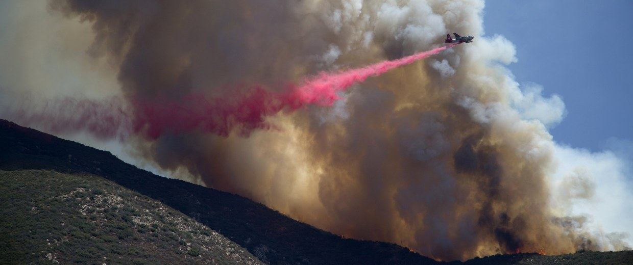 Image:  Fire Crews Work To Contain Cabin Wildfire Within Angeles National Forest