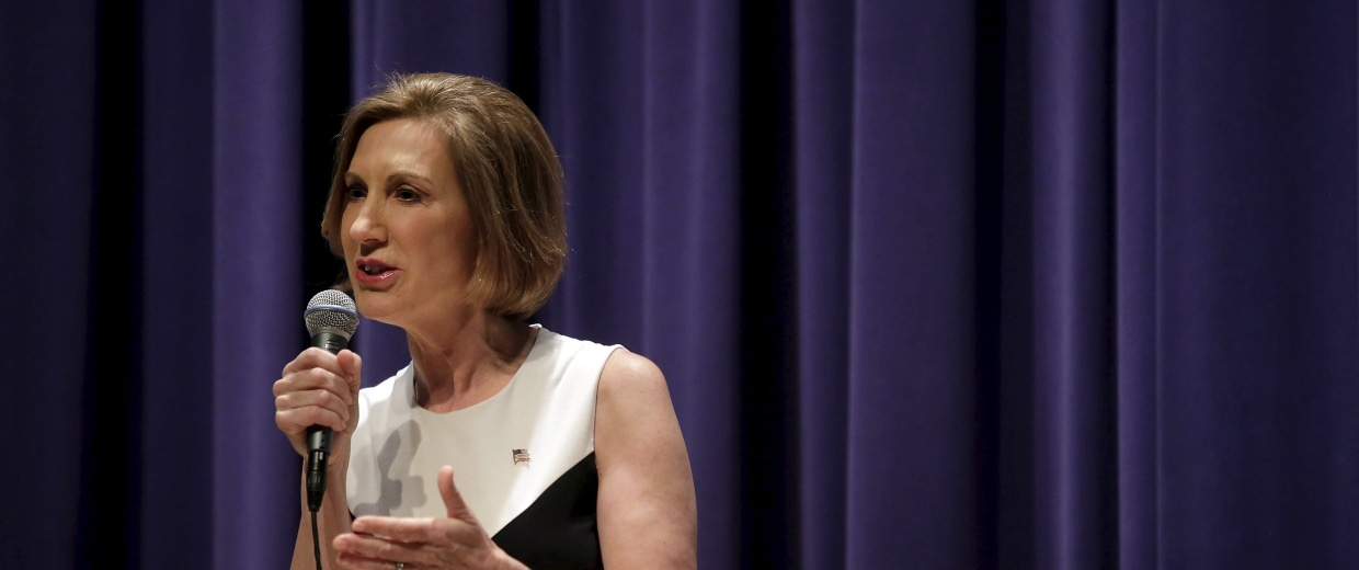 Image: Republican presidential candidate Carly Fiorina speaks during a campaign event at the Jewish Federation of Greater Des Moines in Waukee