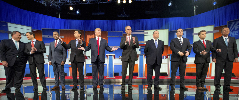 Image: Chris Christie, Marco Rubio, Ben Carson, Scott Walker, Donald Trump, Jeb Bush, Mike Huckabee, Ted Cruz, Rand Paul, John Kasich