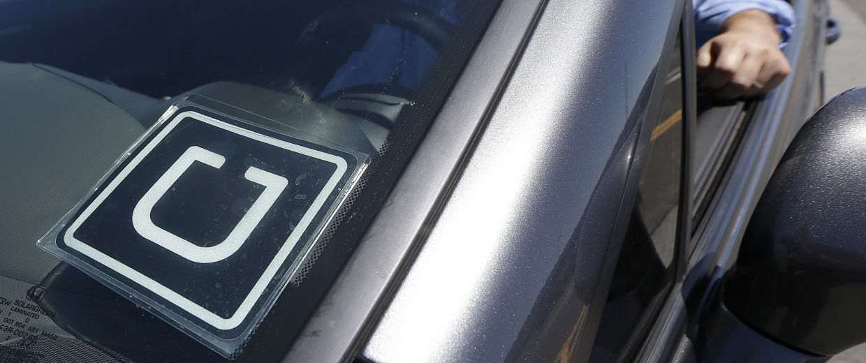 Image: An Uber driver parked up near San Francisco International Airport in this file photo.