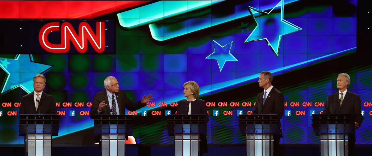 Image: Democratic Presidential Candidates Hold First Debate In Las Vegas