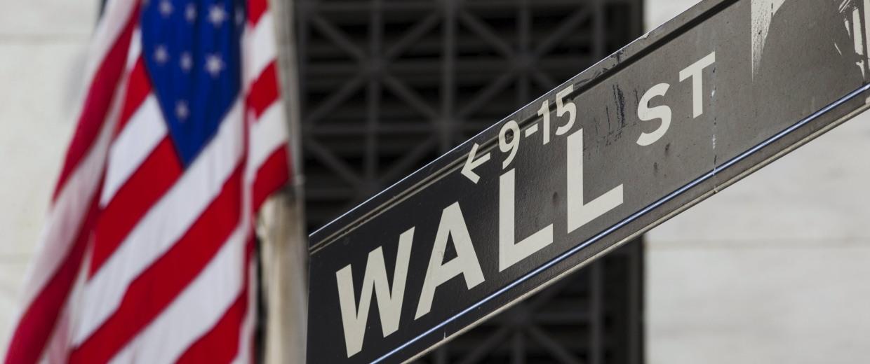 Image: U.S. flag hangs above the door of the New York Stock Exchange