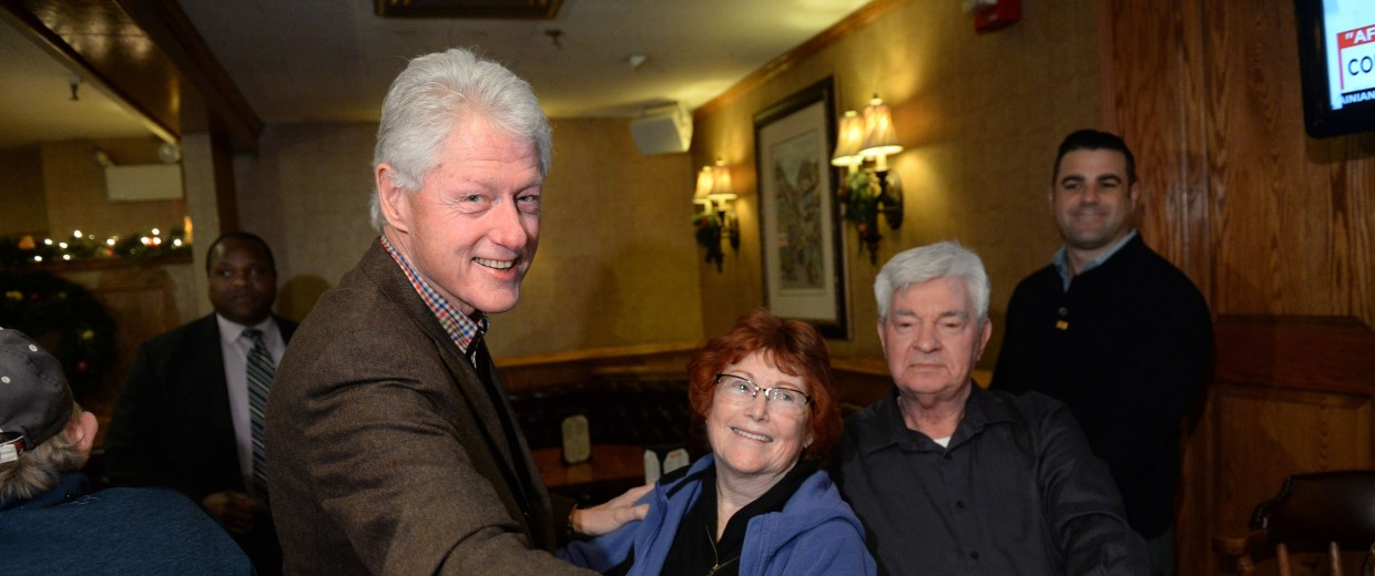 Image: Bill Clinton Campaigns For Hillary In New Hampshire