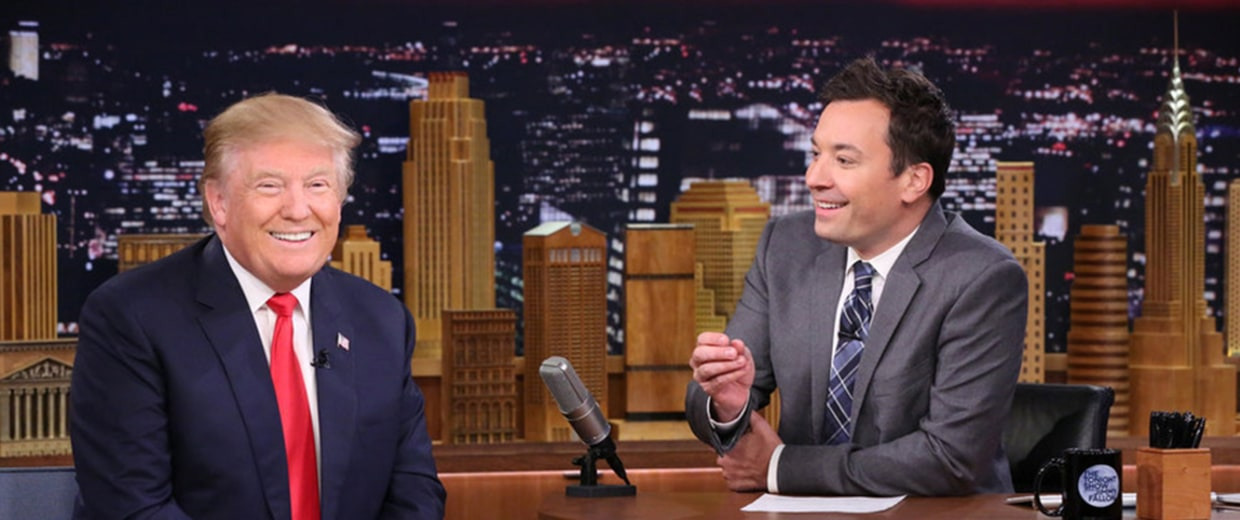 Image: Presidential candidate Donald Trump during an interview with host Jimmy Fallon