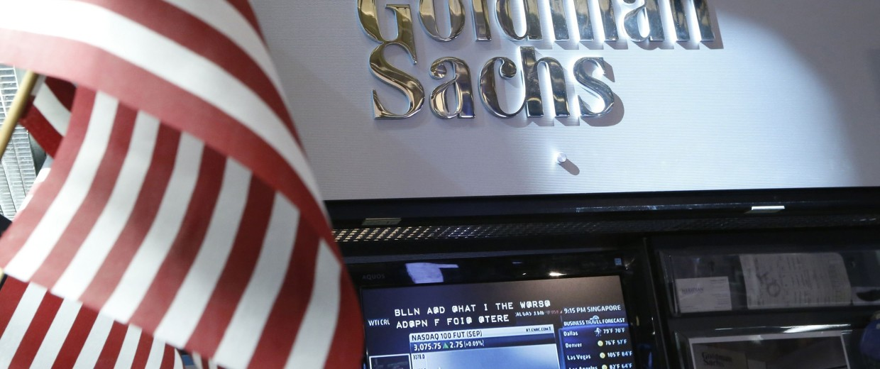 Image: File photo of the Goldman Sachs stall on the floor of the New York Stock Exchange