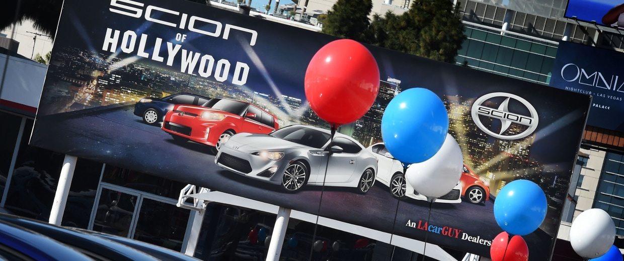 Image: Cars for sale at a Toyota Scion dealer