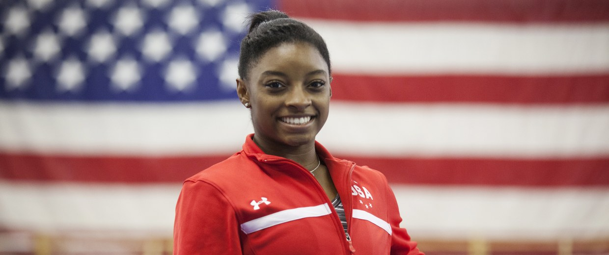 Image: Simone Biles poses for a portrait at Bela Korolyi's training camp in Houston