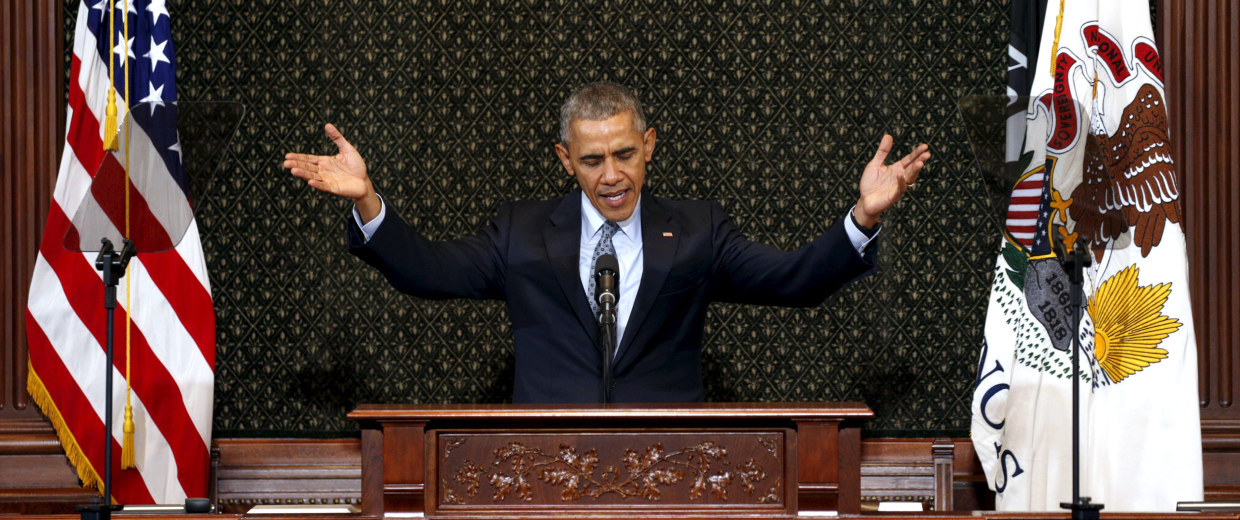 Image: U.S. President Barack Obama addresses the Illinois General Assembly during a visit to Springfield, Illinois