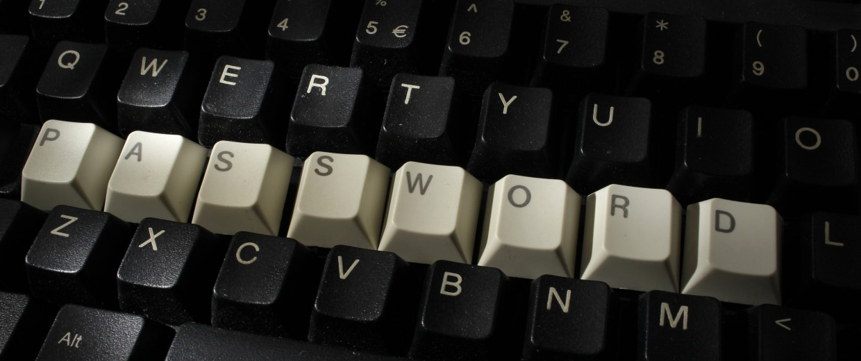Image: Computer keyboard with letters stacked forming the word 'password'