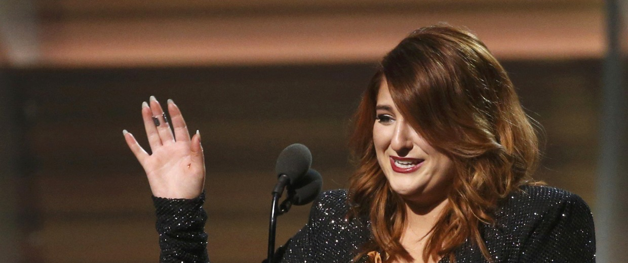 Image: Singer Meghan Trainor accepts the Best New Artist award at the 58th Grammy Awards in Los Angeles