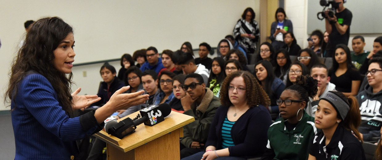 Image: America Ferrera And Voto Latino Meet With Students In Las Vegas Area Ahead Of Nevada Caucuses