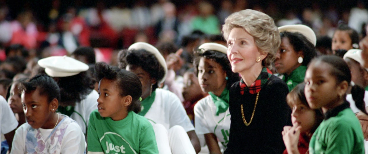 Image: Nancy Reagan attending a Just Say No rally with children