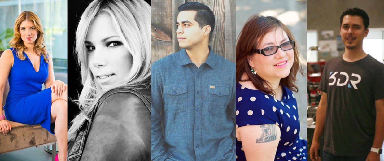 Collage of all five up-and-coming Latinos we profiled.