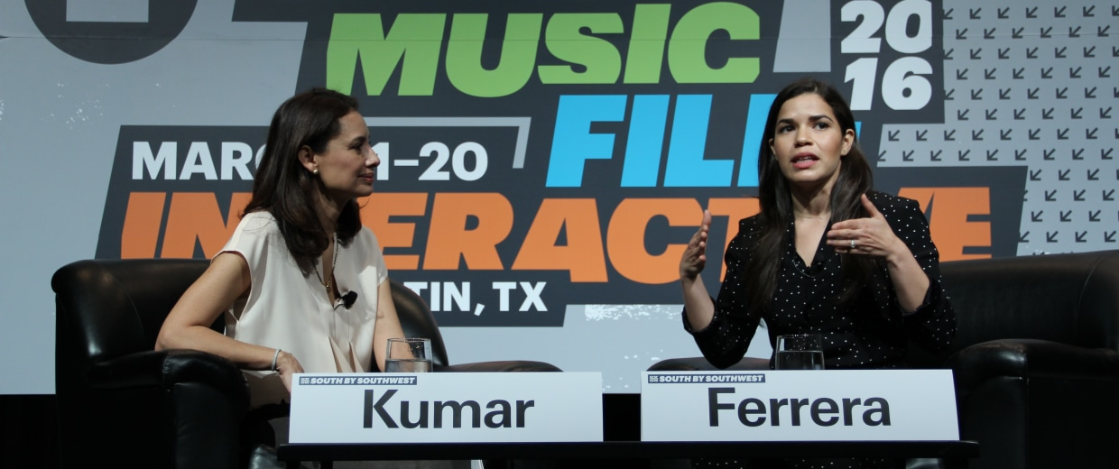Latino CEO María Teresa Kumar and Actress and Artist Coalition America Ferrera speak at SXSW.