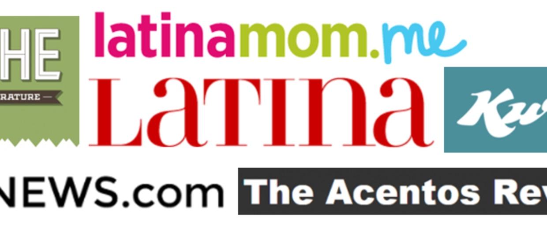 Screen shots of the logos of Huizache, Latinamom.me, Latina Magazine, Kweli, The Acentos Review and AL DÍA News.