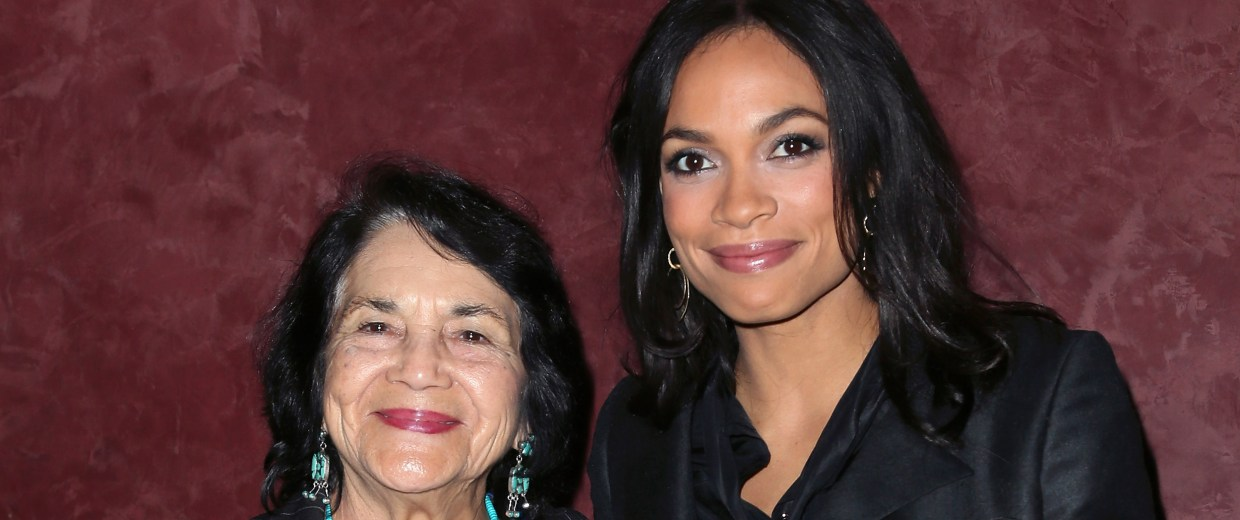 Image: Labor leader and civil rights activist Dolores Huerta and actress Rosario Dawson
