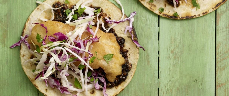 Pati Jinich's Cal-Mex Fish Tacos with Salsa Macha and Creamy Slaw.