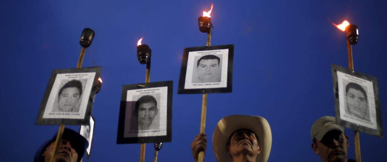 Protesters against the government's handling of the investigation in the case of missing 43 students.