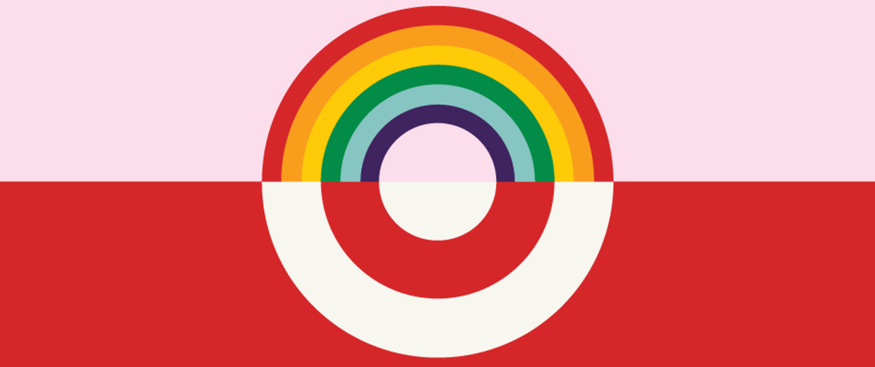 A social pride logo from Target after announcing that they will allow empoyees and customers to use any bathroom they prefer regardless of their gender on April 19, 2016.