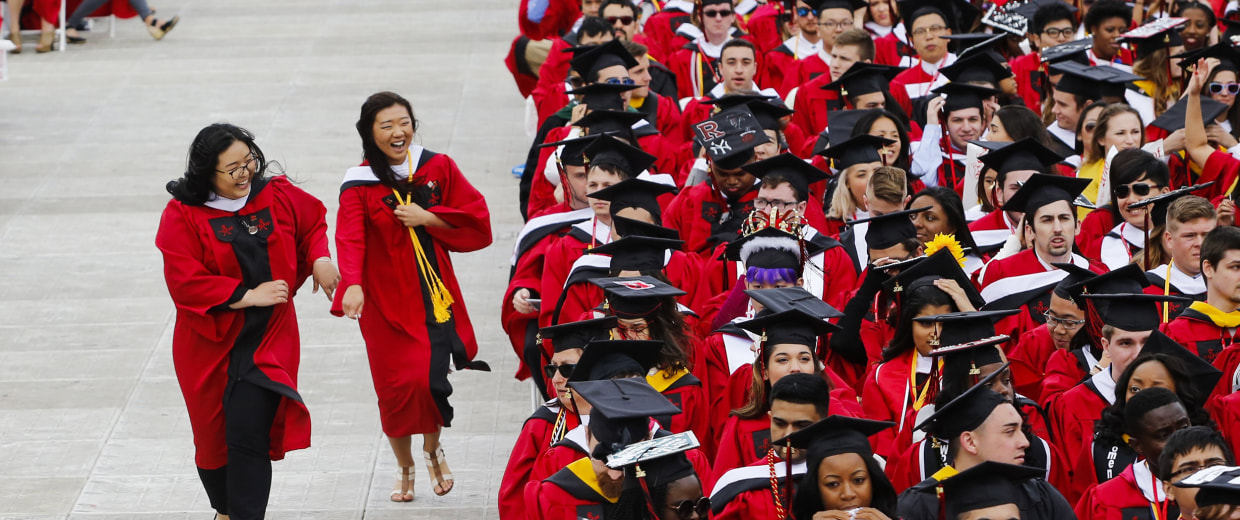 Image: Students at Rutgers University attend the 250th anniversary commencement