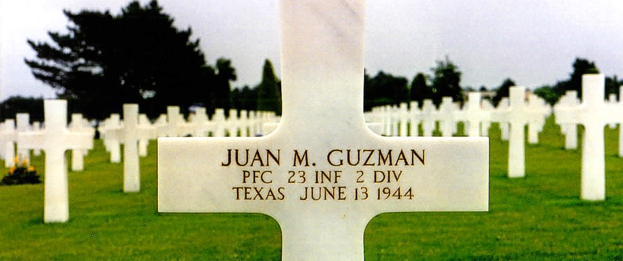 Photo of Juan M. Guzman's gravestone in Normandy, France.