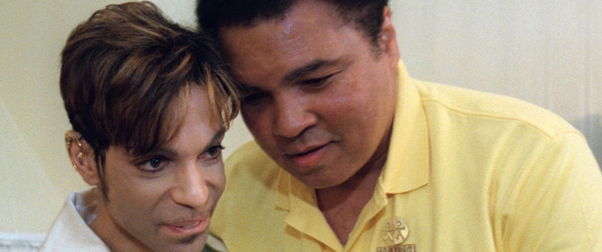 Image: Muhammad Ali embraces Prince during a meeting in 1997