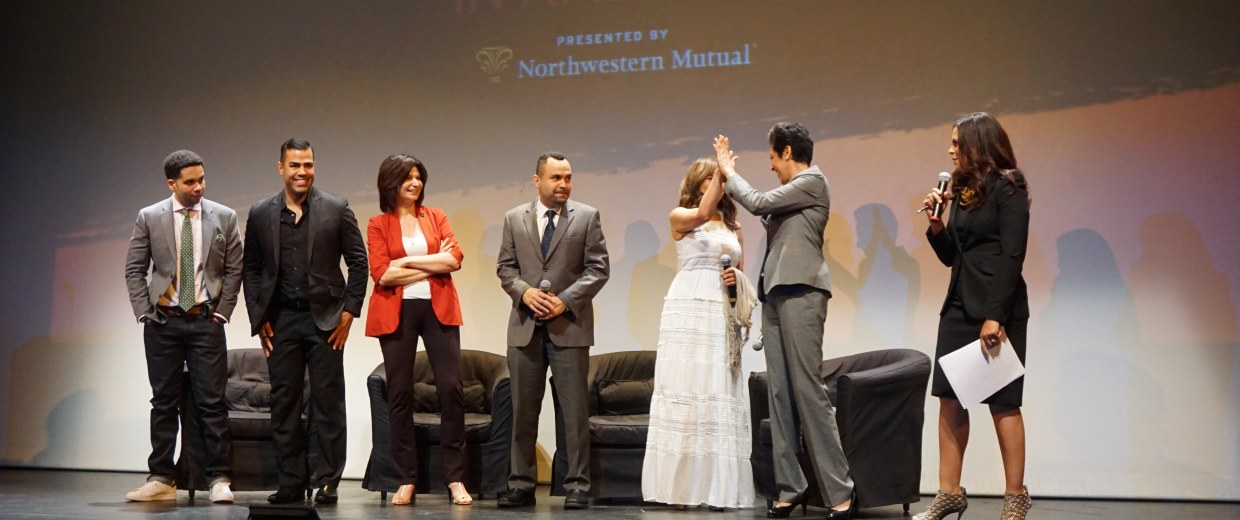 "Panelists join the stage at the end of Soledad O'Brien's New York City showing of her ""I Am Latino In America"" tour."