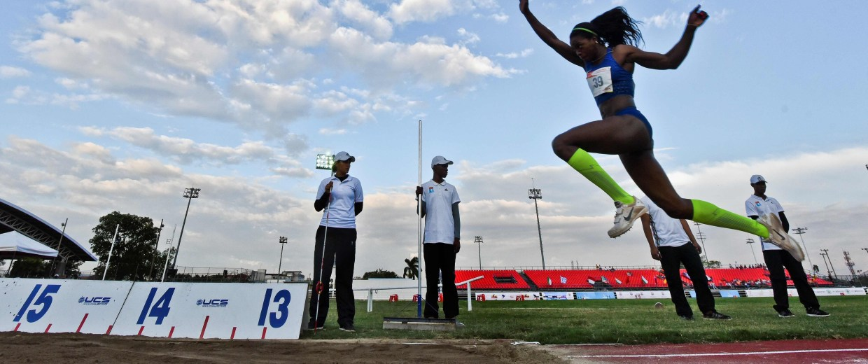 Colombia's Caterine Ibarguen competes in the women's triple jump