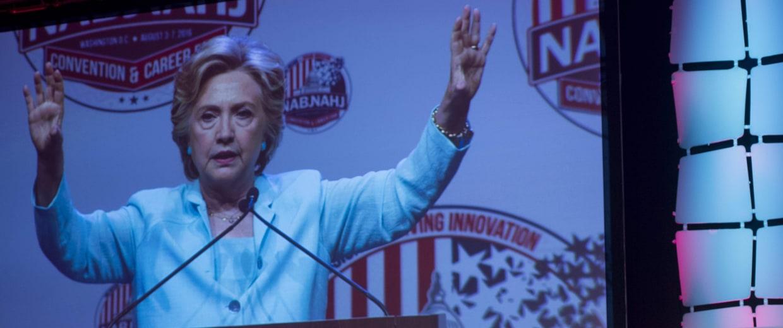 Democratic presidential nominee Hillary Clinton speaks to NABJ, NAHJ Journalists