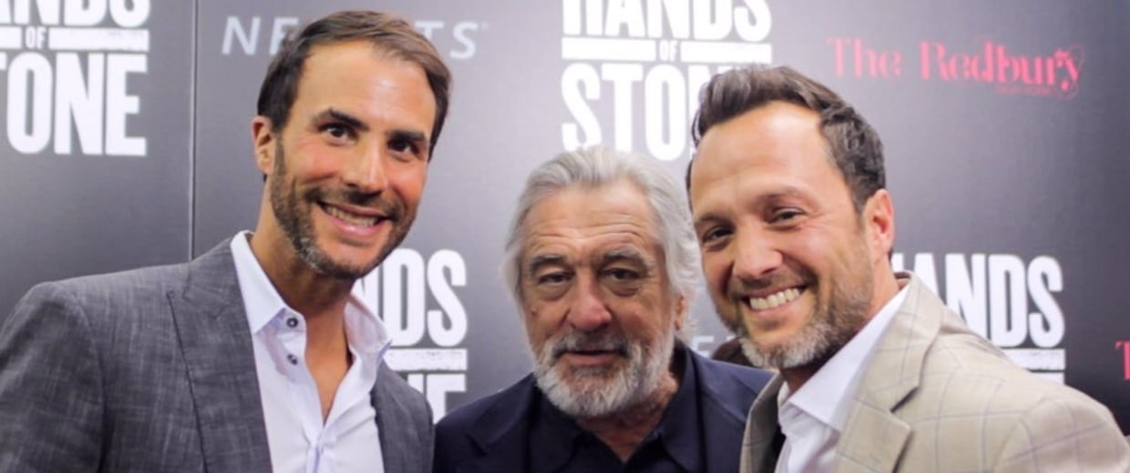 Left to right: Ben Silverman, Robert De Niro and Jay Weisleder at the 'Hands of Stone' premiere