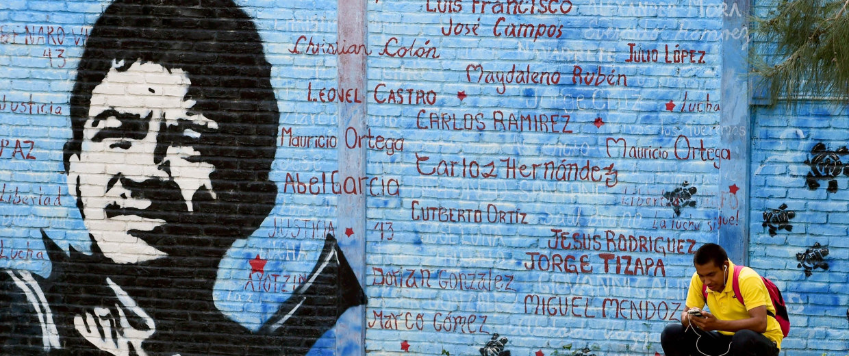 A student depicted inside the compound of the Raul Isidro Burgos rural teaching school in Ayotzinapa, Guerrero state, Mexico on September 21, 2016.