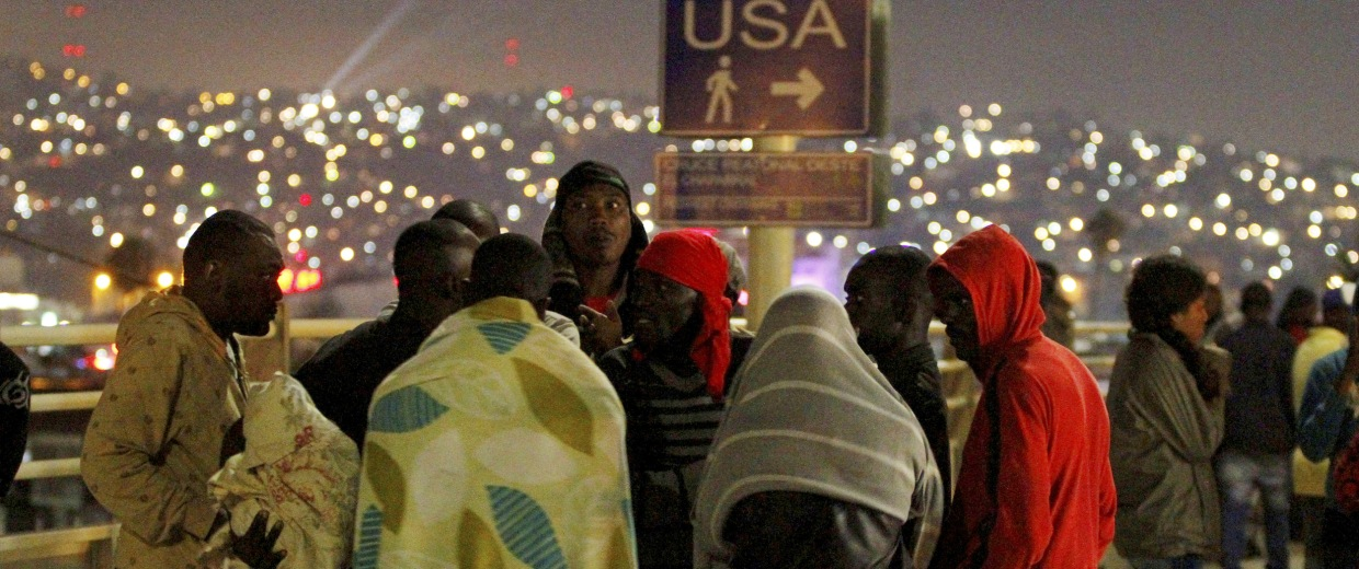 Haitians migrants wait to make their way to the U.S. and seek asylum at the San Ysidro Port of Entry in Tijuana, Mexico